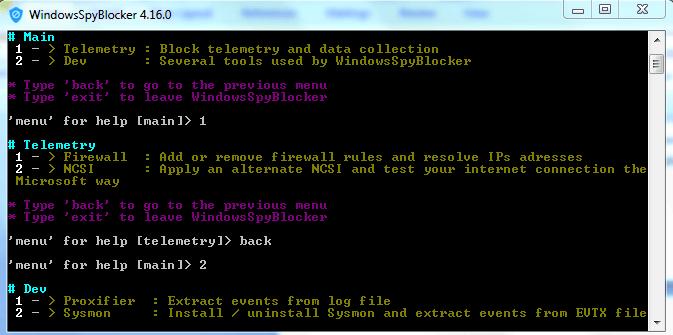 экран с главными командами windows spy blocker