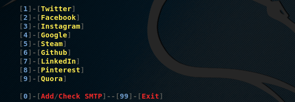 Запуск интерфейса phishx