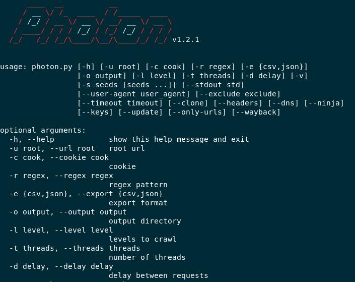 Photon — OSINT инструмент